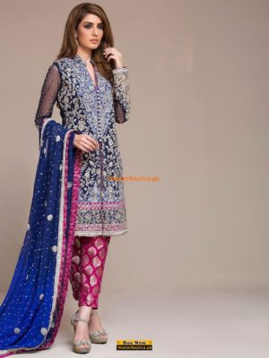 Zainab Chottani royal blue and cherry pink dress original pic