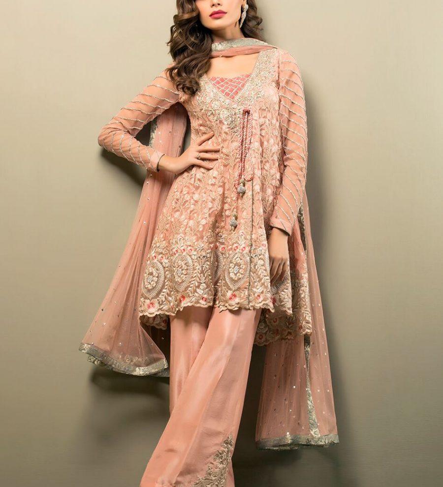 Zainab Chottani salmon pink angrakha