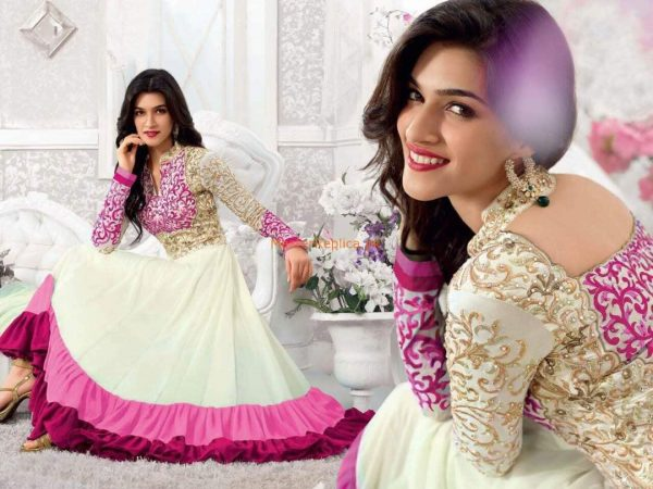 Lilac Indian Chiffon Embroidered Dress