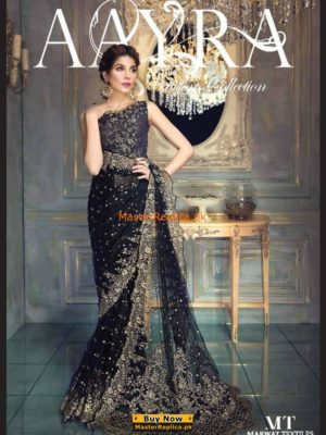 Aayra Luxury Gold & BlackEmbroidered Saree,2017 Replica