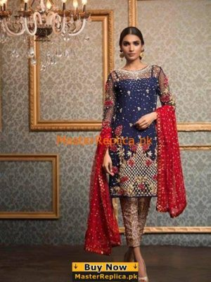 Anus Abrar Chiffon Collection Pearl Embrioded Short Shirt Gold Rush Replica