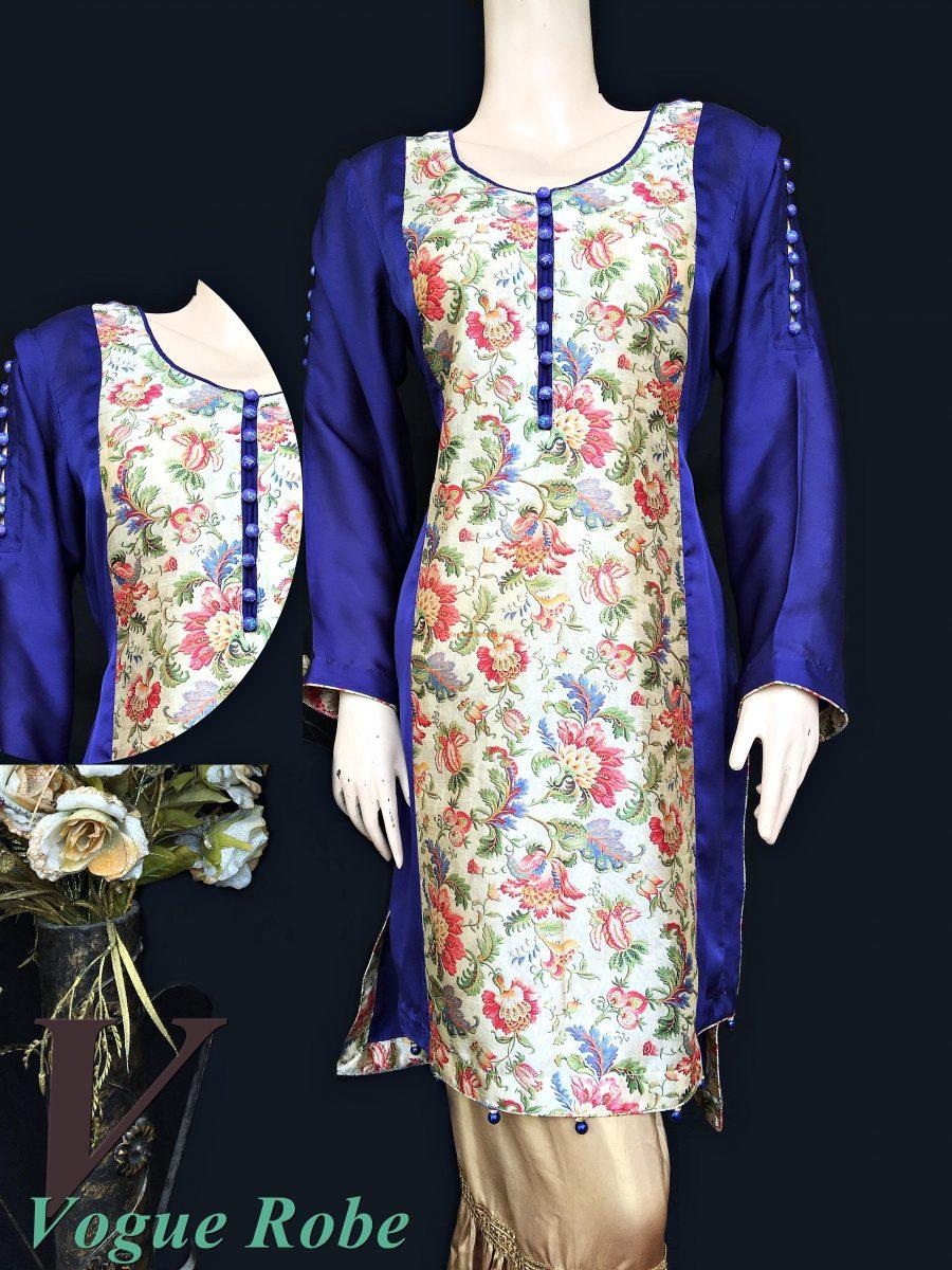 Vogue Robe Festive Collection - Floral Blue