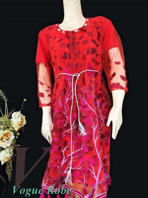 Vogue Robe Festive Collection - Pink Leaf