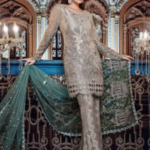 Maria B Unstitched MBROIDERED - Moonlight & Dull Sea Green (BD-1107)