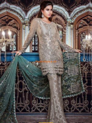 Maria B Unstitched MBROIDERED - Moonlight & Dull Sea Green (BD-1107) Replica