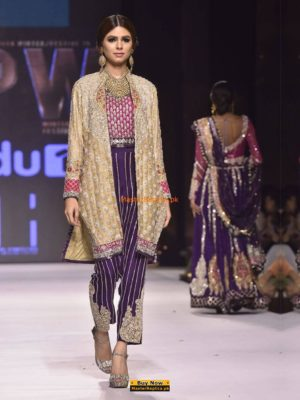 Zainab Chottani BEIGE FULL SLEEVED KHAADI NET JACKET