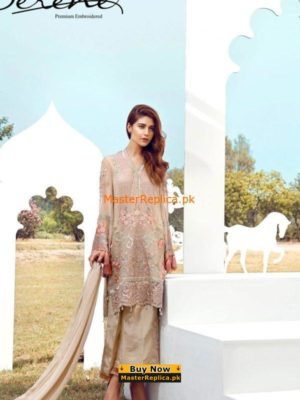 Serene Brown Faux Georgette Embroidered Collection 2017 Replica