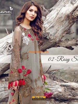 Serene 02-Rosy State Embroidered Collection Replica
