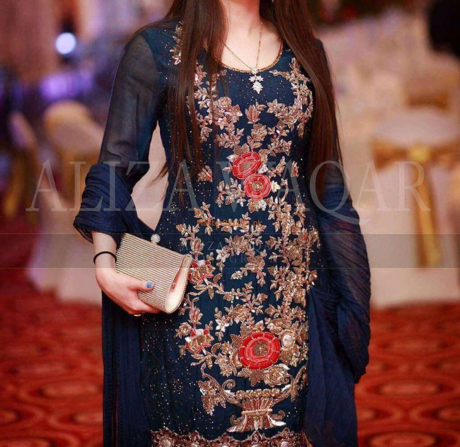 Aliza Waqar Latest Embroidered Chiffon Collection Replica