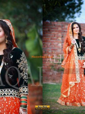 Aliza Waqar Luxury Embroidered Velvet Bridal Collection Replica
