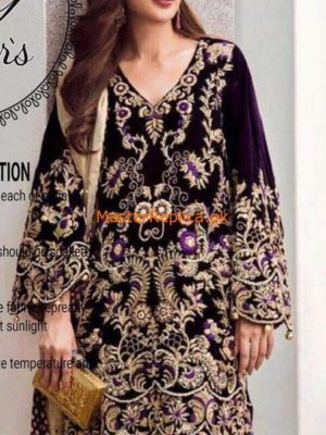 Riffat and Sana Latest Embroidered Velvet Collection Replica