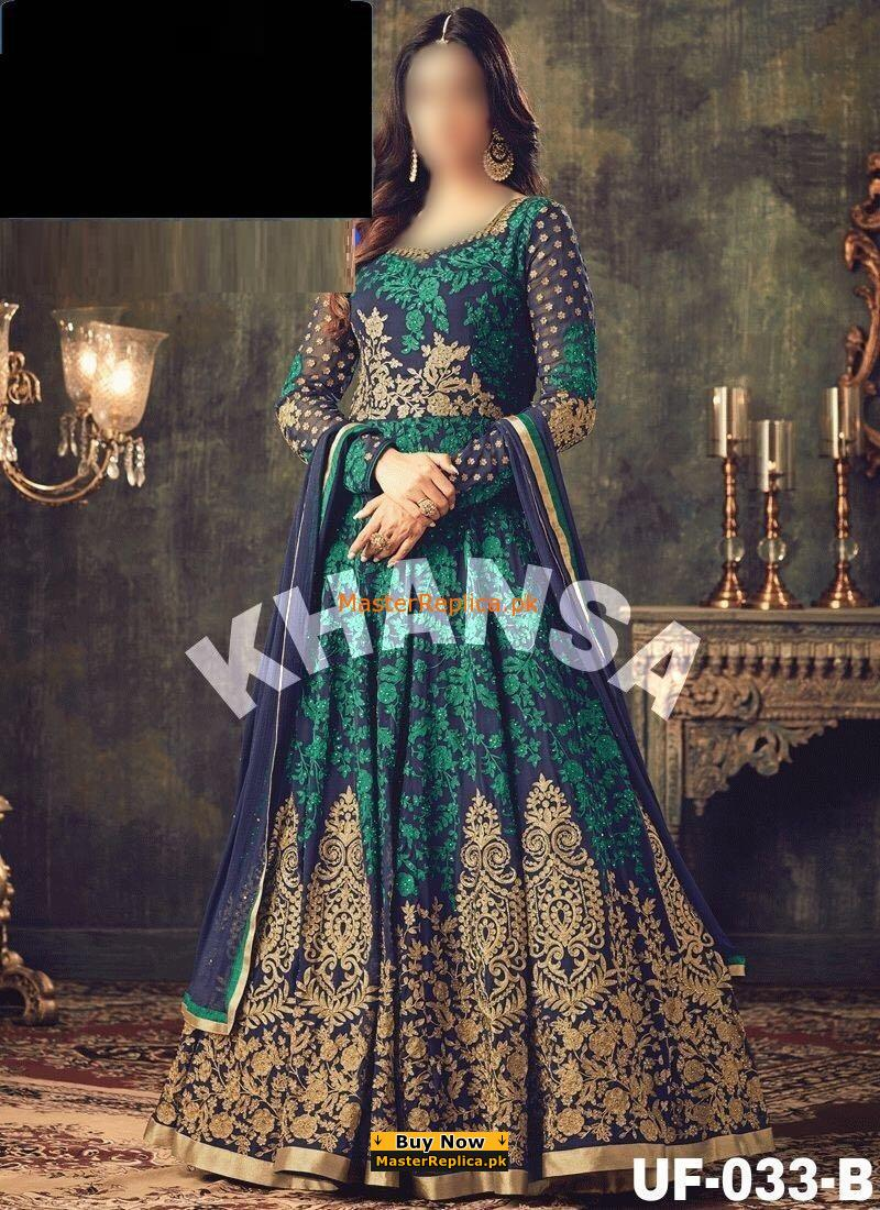 Indian Luxury Embroidered Chiffon Maxi Collection Replica