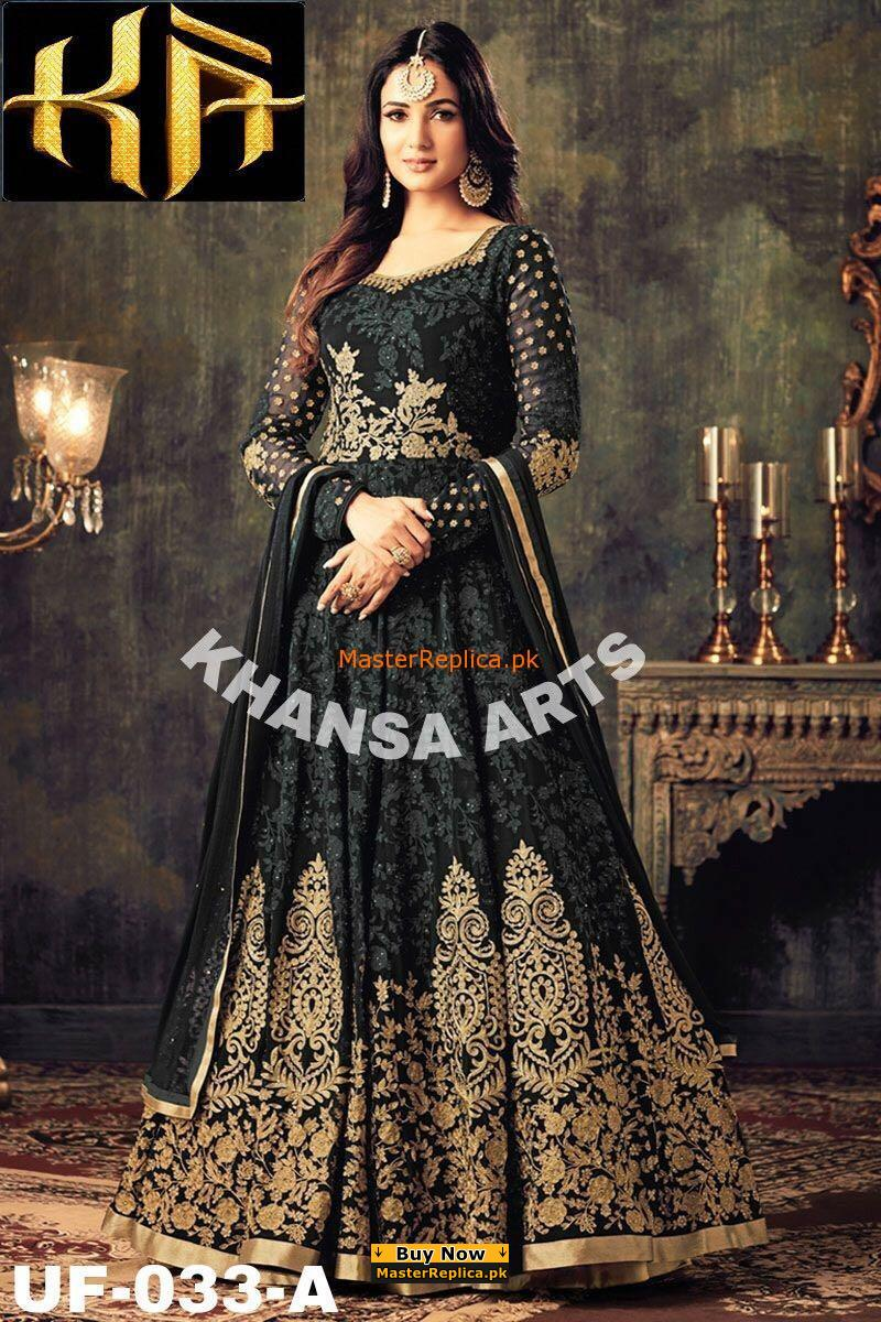 INDIAN LUXURY BLACK EMBROIDERED CHIFFON MAXI COLLECTION REPLICA