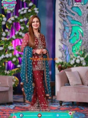 Sidra's Embroidered Chiffon Dress Collection Replica