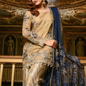 Maria B Latest Gold & Navy Embroidered (BD-1208) Collection Replica