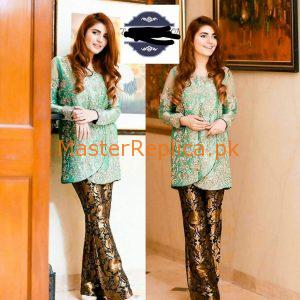 Momena Mustehsen Latest Embroidered Silk Collection Replica