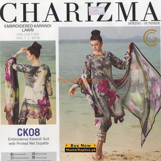 Charizma Latest Embroidered Lawn Collection Replica