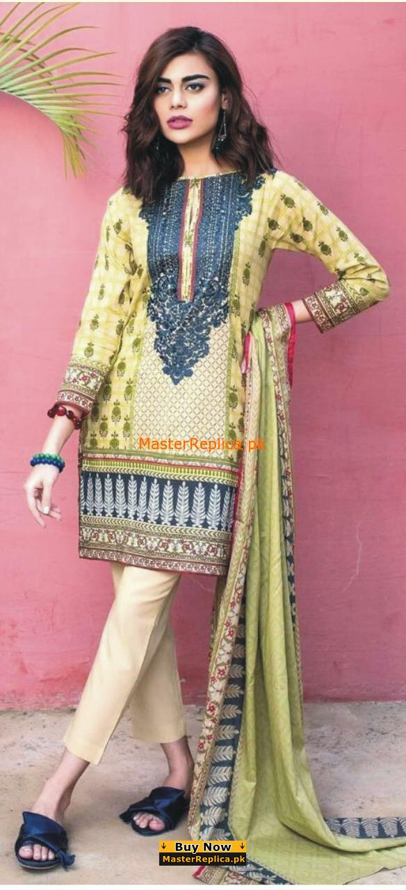 c641ad7224 Khaadi Latest Embroidered Lawn Collection 2018 Replica