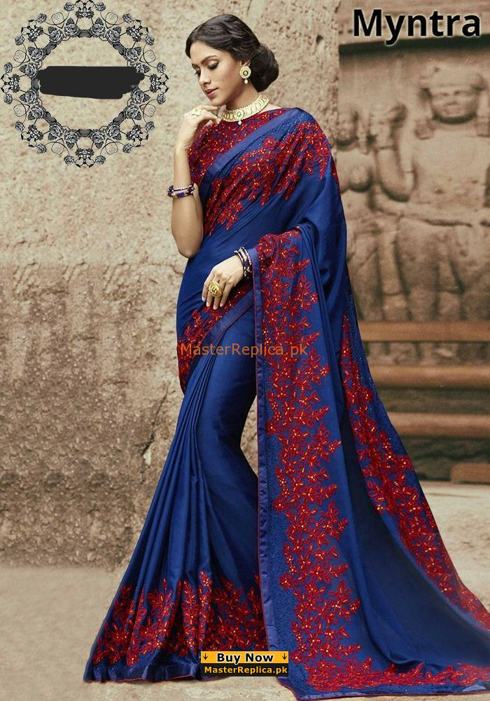 Myntra Luxury Embroidered Chiffon Collection Saree Replica