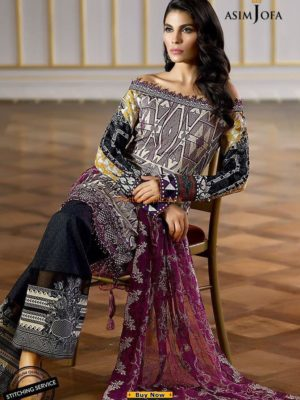 Asim Jofa Latest AJL18-04B Embroidered Lawn Collection Replica