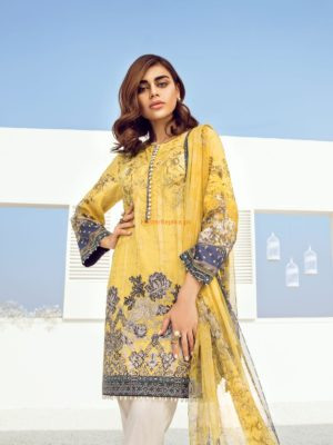BAROQUE Latest Daffodil Blue Embroidered Lawn Collection Replica