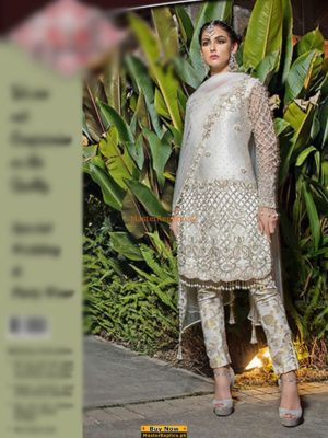 Designer Latest Embroidered Pearl Grey Collection Replica 2018