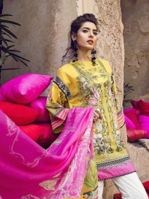 Ethnic Latest Water Lily Embroidered Lawn Collection Replica