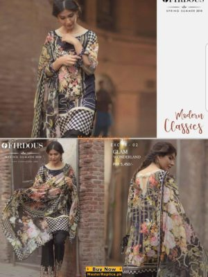 Firdous Luxury Embroidered EXC-02 Lawn Collection Replica