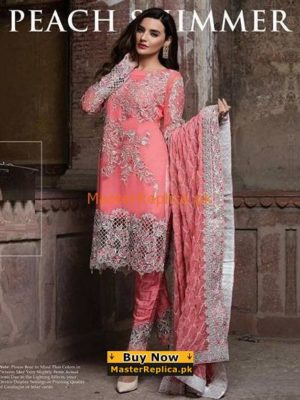 IMROZIA Latest Summer Peach Chiffon Collection Replica