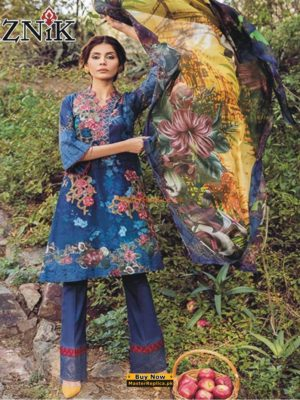 Iznik Latest 04 Orchid Embroidered Lawn Collection Replica