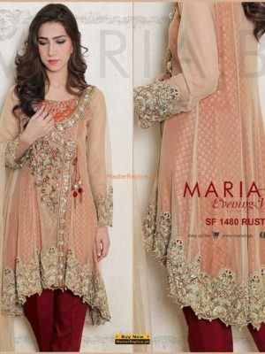 MARIA B Rust Evening Wear Embroidered Net Collection Replica