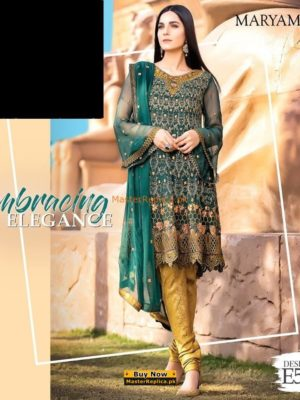 MARYAM'S Embracing Elegance Embroidered Chiffon Collection Replica