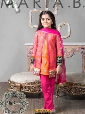 Maria B Kids MKS 162 Embroidered Lawn Collection Replica