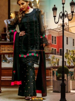 Master Replica Latest Black Embroidered Net Collection