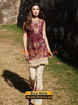 Saira Rizwan Latest Merun Embroidered Lawn Collection Replica