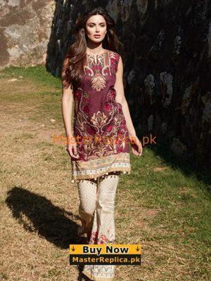 Saira Rizwan Latest Merun Embroidered Lawn Collection Replica