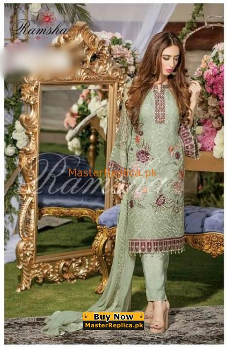 f0ae7ad0a3 RAMSHA Luxury Embroidered Chiffon Collection Replica 2018