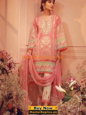 KHAADI Luxury K18206-Pink Embroidered Lawn Collection Replica