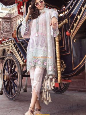 Maria B.Pearl White & Pastel (BD-1303) Embroidered Chiffon Replica