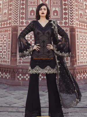 Maria B Latest Black & Ivory (BD-1302) Embroidered Chiffon Replica