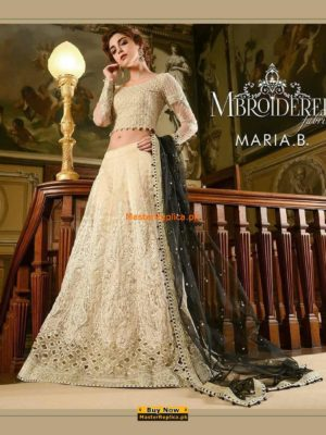 Maria B.Latest Cream and Black Embroidered Collection Replica