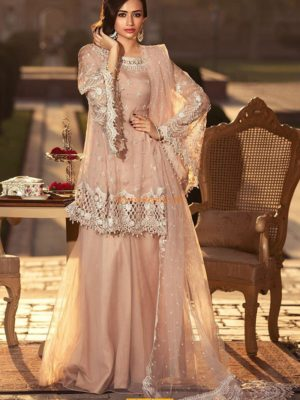 Maria B.Luxury Powder Peach (BD-1306) Embroidered Chiffon Collection Replica
