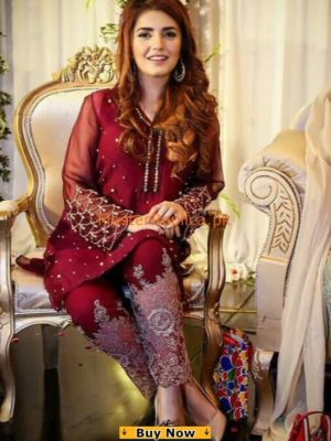 MOMINA MUSTEHSAN Luxury Embroidered Chiffon Collection Replica