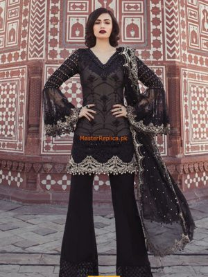 Maria B. Luxury Black & Ivory (BD-1302) Embroidered Chiffon Replica