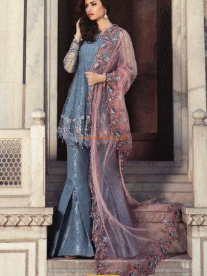 Maria B Luxury Cerulean Blue (BD-1304) Embroidered Chiffon Replica