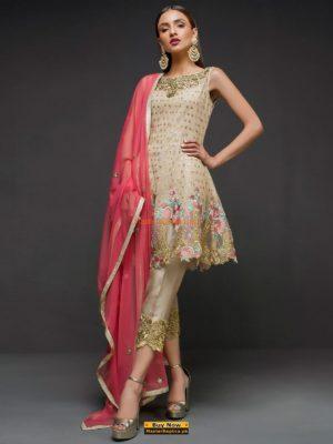 Zainab Chottani Ivory Peplum Embroidered Net Collection Replica