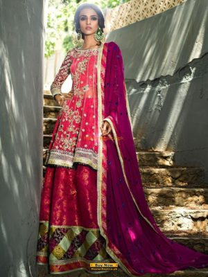 Zainab Chottani Melon Pink Symphony Embroidered Chiffon Collection Replica