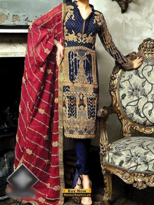 ASIM JOFA Latest AJ-05A Embroidered Chiffon Collection Replica