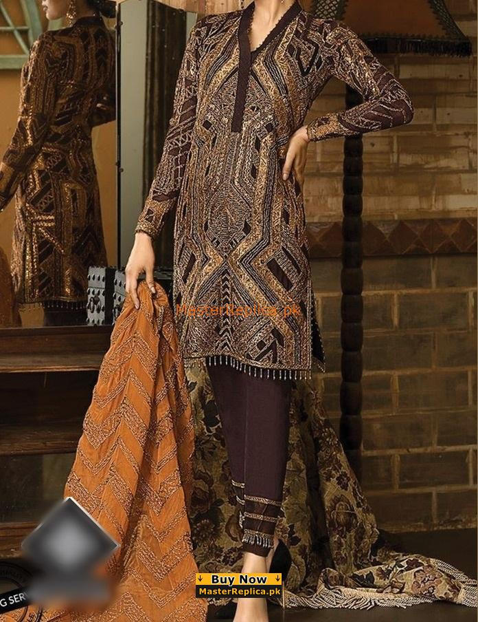 ASIM JOFA Luxury AJ03B Embroidered Chiffon Collection Replica