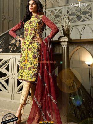 Asim Jofa Latest AJL18-13B Embroidered Eid Collection Replica